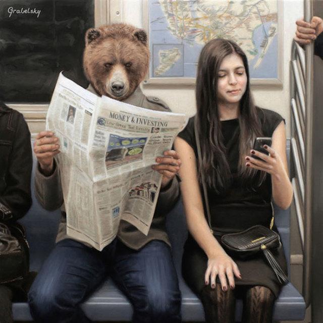 地铁上的情侣